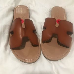 Madden girl dark tan slide ons
